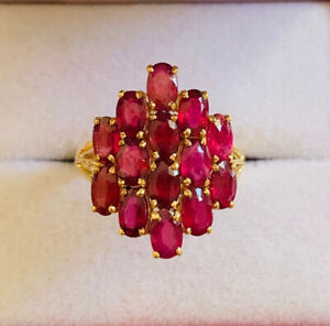 14k Solid Yellow Gold Band Ring With Natural Ruby Oval Cut 4.20CT4.30GM(329$)