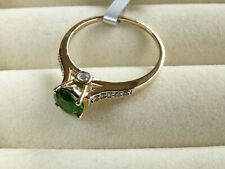 Russian Chrome Diopside Solitaire & White Zircon 10K Yellow Gold Ring Size P-Q/8