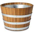 Denia Oiled wood brown Round Planter Pot Barrel 50cm diameter RRP £70