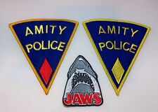 """Jaws Movie Amity Police Set of (3) Embroidered Logo 5"""" Patches Premium Quality"""