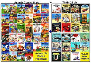 Asterix 34 Books Box Set + Tintin 23  Graphic Books Collection,Big Size PBs, NEW