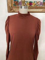 Ember Puff Sleeve Bodysuit Long Sleeve Shirt Rayon Brown NEW NWT L large