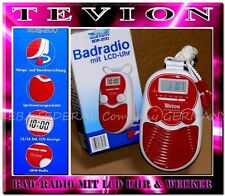Tevion Radiowecker BDR200 Wassergeschützt Badradio Wand Duschradio LCD Rot -Weiß