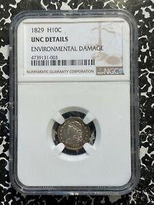 1829 U.S. Capped Bust Half Dime NGC UNC Details Lot#A217 Silver!