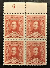 Australia Scott #104 Block of 4 with Plate Number Mh