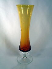Amber Hand Blown Glass Bud Vase w/Etched Corn Flowers