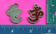 lead free pewter chakra om aum  pendant with red epoxy 5137-3