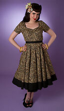 Miss Fortune Leopard Black SWEETHEART SWING DRESS rockabilly neck 50s retro vlv