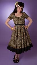 Miss Fortune Leopard Black SWEETHEART SWING DRESS rockabilly neck 50s retro vlv