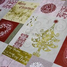 """Patchwork """"Merry Christmas"""" Tree & Bauble Printed Tablecloth PVC *Per Metre"""