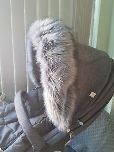 Hood fur trim for pushchair, pram  universal fit  Silver Cross, Icandy,Bugaboo