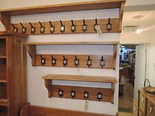 VANCOUVER PETITE LARGE SOLID OAK SHELF WITH 10 NUMBERED COAT HOOKS   NB193C