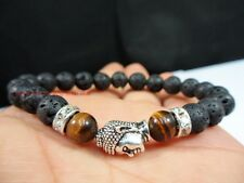Natural Lava Tiger Eye Stone Bead Good Luck Lucky Silver Buddha Mala Bracelet