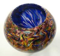 HAND BLOWN GLASS BOWL, ORIGINAL DIRWOOD GLASS DESIGN WITH GOLD SPARKLES, n3475