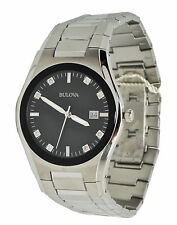 Bulova Diamond-Accent 96D104 Black Dial Stainless Steel Men's Watch