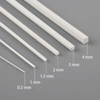 12pcs Styrene ABS Square Sections 500mm 0.5/1/1.5/2/3/4mm in Diameter