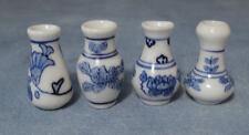 Four Blue & White Porcelain Vases Dolls House Miniature, Miniatures 1:12 Scale