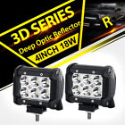"""2x 4""""inch 18W CRE LED LIGHT BAR WORK SPOT/FLOOD LAMP OFFROAD BOAT UTE TRUCK 4WD"""