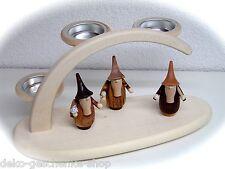 3d Velas de té ARCOS DE LUCES arbotantes + 3 figuras Gnome Auténtica Erzgebirge