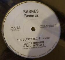 "Quick Quintin & MC Mello J-The Classy Mc's- 12"" Electro Rap 1985 SEALED"