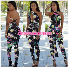 Women Sleeveless Party Floral Jumpsuit Sexy Backless Pants Romper  Clubwear