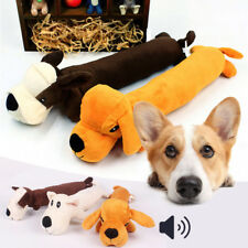 Pet Puppy Plush Sound Cartoon Dog Shape Chew Toy Squeaker Squeaky Play Toys