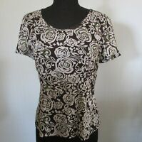 Wombat Womens Sz M Black & White Rose Print Top with Bead Accents S/S VGC