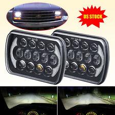 Pair 105W 7x6 5x7'' LED Headlight DRL for Jeep Wrangler YJ Cherokee XJ Chevy S10