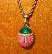 Russian FABERGE inspired GREEN PINK ENAMEL Swarovsky Crystals EGG pendant chain