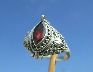 Granat - Gift - Ring - Box zum Öffnen - Gr. 19,5 - Silber 925 !