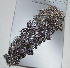 NEW 10cm Silver vintage crystal flower barrette clip wedding hair accessory