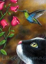 ACEO art print from art painting Tuxedo Cat 571 Hummingbird bird by L.Dumas