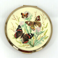 Stratton UK Powder Compact Enamel Printed Butterflies Signed 1970s no puff Vtg