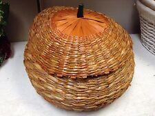 Large Wicker seagrass Pumpkin Basket & Lid Autumn Harvest Fall Thanksgiving