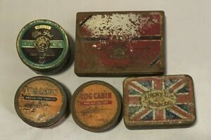 Vintage Lot - 5 Cigarette/Tobacco Tins - see description and ALL photos