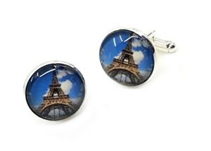 Eiffel Tower round stainless Cufflinks for travellers, French, Paris, Europe