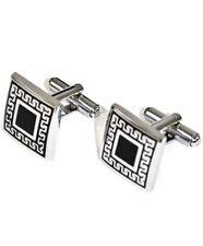 Black Square Shield Silver Tone Premium Cufflinks (CL321)