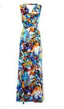 Warehouse Silk Butterfly Maxi Dress Bnwt Size 8 Summer Wedding Blue Yellow Beach