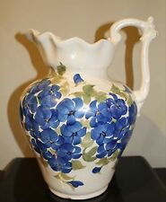 """Cash Family Pottery Blue Floral 11"""" Pitcher with Matching Basin, Dated 1945"""