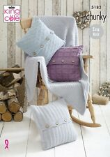 Knitting Pattern Easy Knit 3 Textured Cushions & Blanket Chunky King Cole 5182
