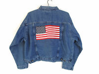 Denim Jean Jacket American Flag Embroidered Red White Blue Patriotic Womens XL