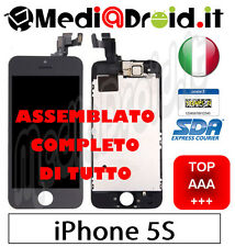 APPLE IPHONE 5S NERO VETRO DISPLAY LCD SCHERMO SET COMPLETO ASSEMBLATO ORIGINAL