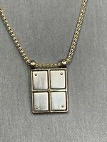 """Vintage Monet Silver Gold Time Pendant Necklace With Round Link Chain 16"""""""