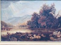 """English School 19th Century Oil """"Sheep Grazing By The Lake"""" Signed & Dated 1891"""