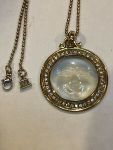 Rare Temple St Clair 18kt Gold Diamond Crystal Moonface Pendant And Necklace