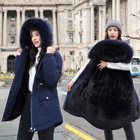 Women Faux Fur Coat Hooded Parka Ladies Winter Fleece Lined Long Jacket Outwear