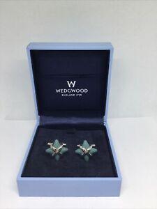 Wedgwood Teal Star Cufflinks Ceramic & Rhodium Plated Boxed