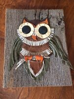 Vintage handmade OWL art Leather Strips on Barn wood slab 14 x 10.5  3D Rustic