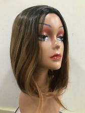 OMBRE WIG BROWN BLACK STRAIGHT WAVY SYNTHETIC STRAIGHT CUTE BOB HAIR UK COSTUME