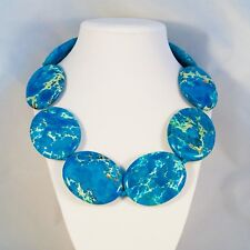 Blue Jasper Chunky Necklace stone Statement NEST Jewelry 22 K Gold Plated